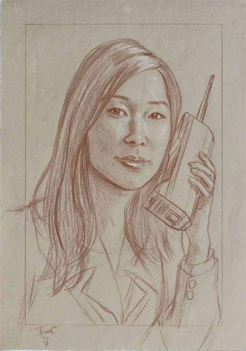"Paul Binnie ""A Mobile/Cell Phone of 1980"" Conte Sketch thumbnail"