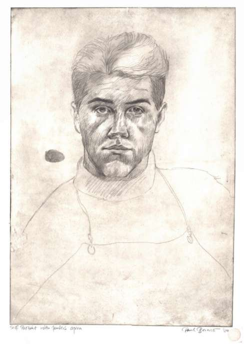 "Paul Binnie ""Self Portrait with Printer's Apron"" 1989 thumbnail"
