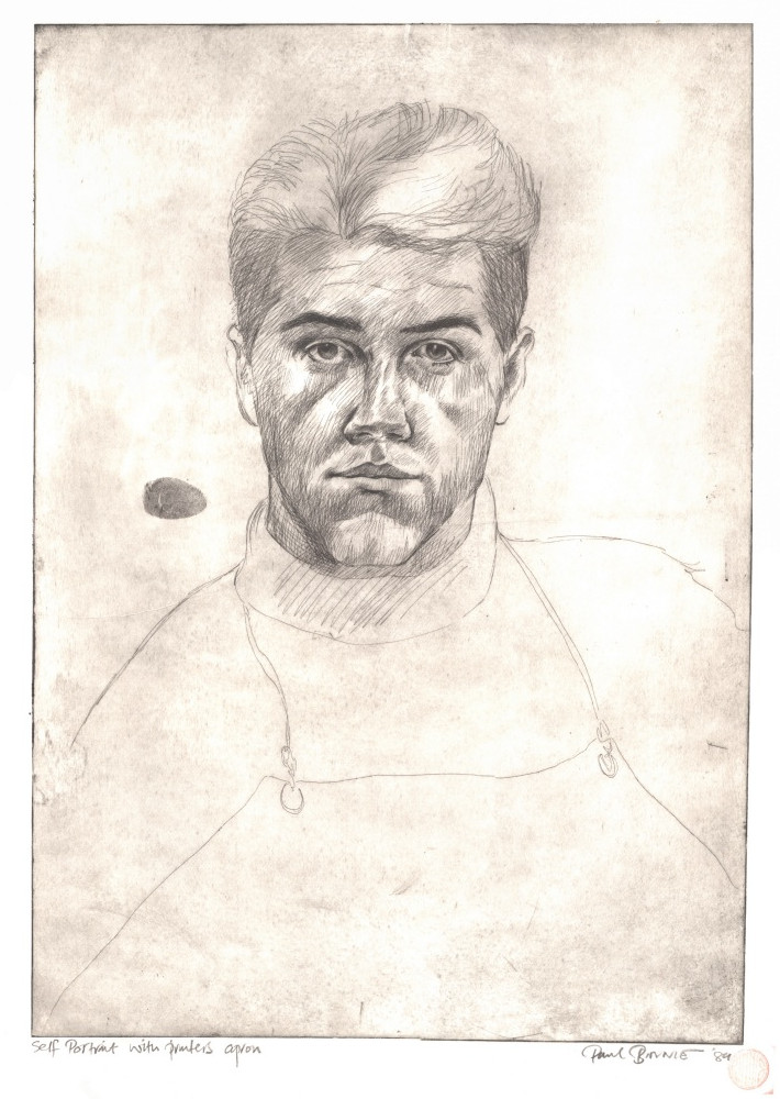 "Paul Binnie ""Self Portrait with Printer's Apron"" 1989 main image"