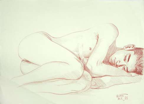 "Paul Binnie ""Sleeping Boy - Naoyuki"" Conté sketch thumbnail"